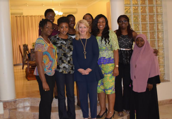 Front Row (Left to Right): Chioma Chuka, Angel Adelaja, Ambassador Catherine Russell, Blossom Ozurumba, Mosunmola Umoru, Saidat Shonoiki. Back Row (Left to Right): Titilope Ojo, Simi Olushola, Hannah Kabir