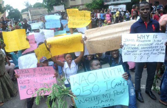 Young Nigerians protesting JAMB result