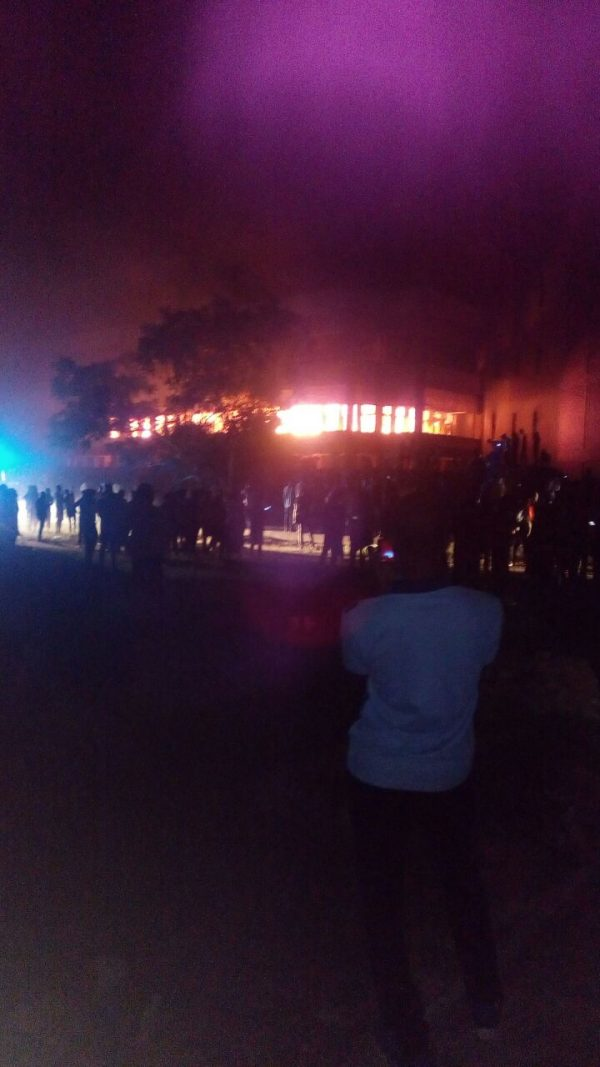 University of Jos library on fire
