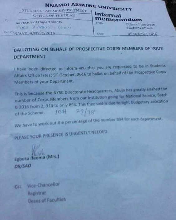 The letter from UNIZIK