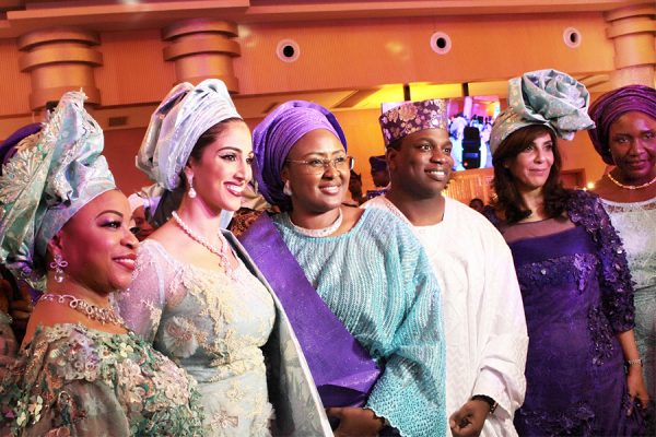 From left: Mother of the Groom, Mrs. Folorunso Alakija; Bride, Nazanine; Wife of the President, Mrs. Aisha Buhari; Groom, Folarin Alakija, Bride's mother, Mrs. Nooshin and Wife of the Speaker, House of Representatives, Mrs. Gimbiya Yakubu Dorara; during the wedding ceremony of Mrs. Alakija's son held at Oriental Hotel and Suites in Lagos.