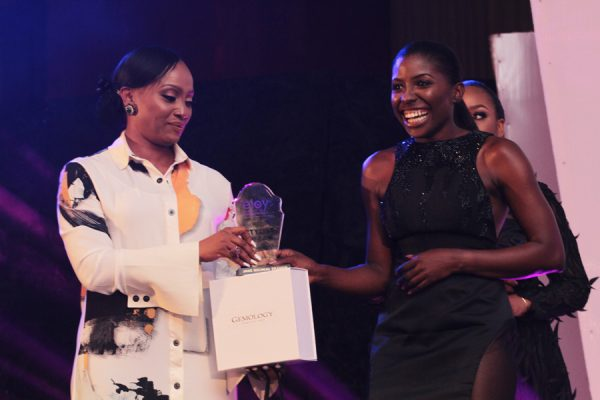 Jane Michael Ekanem receives her award from Ifeoma Williams