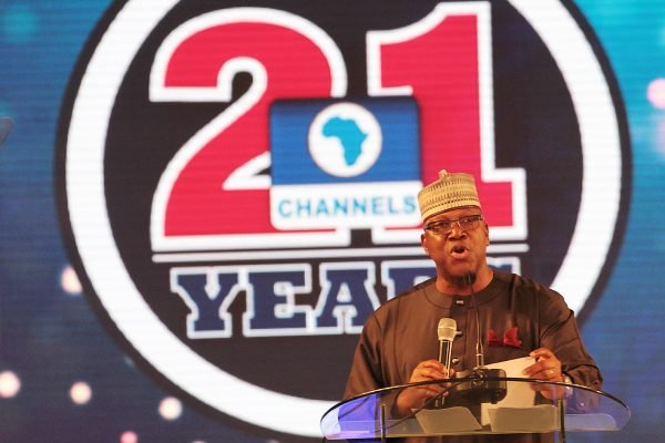 Chairman, Channels Media Group, Mr. John Momoh delivering his welcome speech at the Channels Television's 21st Anniversary Gala Nite.