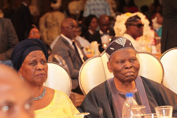 Former Chairman of Sure-P and Recipient of Channels TV's living legend of Broadcasting, Dr. Christopher Kolade (right) and his wife, Mrs. Beatrice.