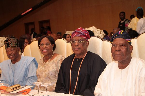 From left: Publisher, Vanguard Newspapers, Mr. Sam Amuka; wife of the Former Governor of Ogun State, Mrs. Beere Derin; her husband, Aremo Segun Osoba and Former Governor of Osun State, Chief Bisi Akande; at Channels Television 21st Anniversary Gala Nite held in Oriental Hotel, Victoria Island, Lagos...yesterday PHOTO BY AKINWUNMI IBRAHIM