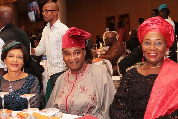 From left: Lady Maiden Ibru; Chief Ajibola Ogunshola and his wife, Mrs. Iyabo.