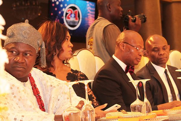 From left: Represntative of Oni of Ife, HRM. Oba Adebisi Layade; Mrs. Lotanna Uzoka; her husband, Group Managing Director, UBA, Mr. Kennedy and Chairman, Heirs Holdings, Mr. Tony Elumelu.