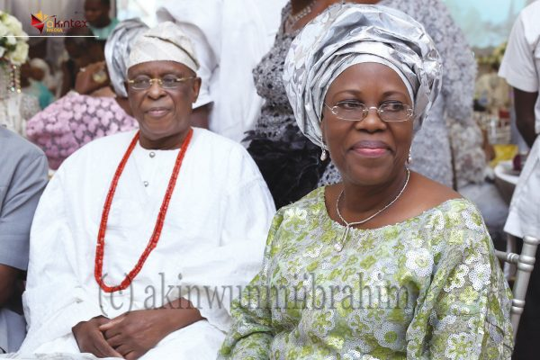 Former Governor of Ogun State and Chieftain of APC, Aremo Olusegun Osoba and wife, Derin.