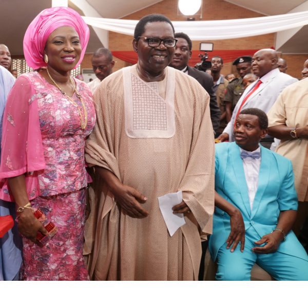 Pix L-R: Mrs. Bolanle Ambode; the celebrant, Evangelist Ebenezer Obey-Fabiyi and General Overseer, Redeemed Christian Church of God Worldwide, Pastor Enoch Adeboye during the 75th Birthday Church Service of Evangelist Obey at the Chapel of Christ the Glorious King (CCGK), Obasanjo Presidential Library, Abeokuta, Ogun State, on Monday, 3 April, 2017.