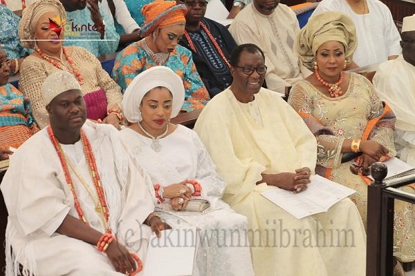 From left: Ooni of Ife, Oba Enitan Ogunwusi; his wife, Olori Wuraola; Former Governor of Ogun State, Otunba Gbenga Daniel and wife, Yeye Olufunke; during the wedding ceremony of their children held at Methodist Church of the Trinity, Tinubu, Lagos, on Saturday...PHOTO BY AKINWUNMI IBRAHIM