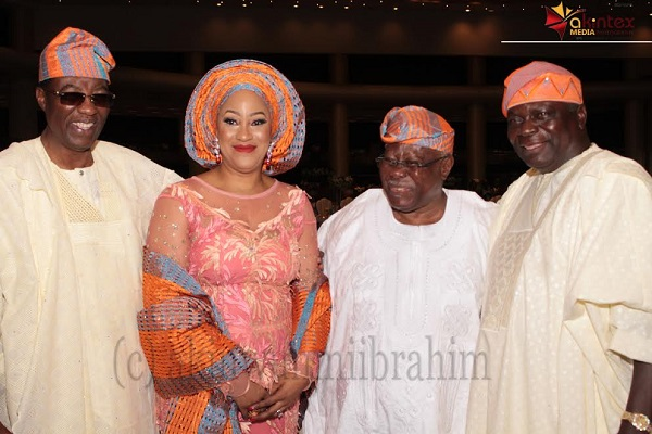 From left: Former Governor of Ogun State, Otunba Gbenga Daniel; ,Mrs. Roli Bode George; Chief Bode George and Former Governor of Osun State, Olagunsoye Oyinlola; during the wedding ceremony of their children held at Methodist Church of the Trinity, Tinubu, Lagos, on Saturday...PHOTO BY AKINWUNMI IBRAHIM