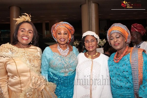 From left: Mrs. Stella Okoli; Mrs. Cordelia Agboti; Erelu Abiola Dosumu and Olori Modupe Oladunni; during the wedding ceremony of their children held at Methodist Church of the Trinity, Tinubu, Lagos, on Saturday...PHOTO BY AKINWUNMI IBRAHIM