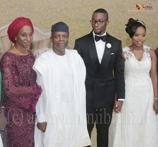 Pix from left Mrs Dolapo Osinbajo; wife of the Acting President; Acting President Yemi Osinbajo; The couple, Mr and Mrs Oladipupo Dabiri at the reception. Photo Lamidi Bamidele