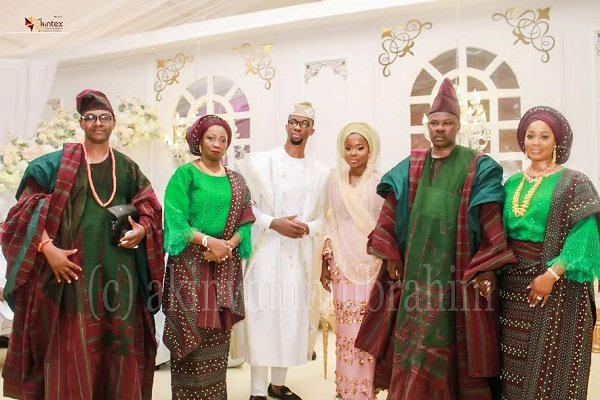From left: The Groom's parents, Dr. Kolawole Dabiri; Hon. Abike Dabiri-Erewa; Groom, Oladipo Habeeb; Bride, Ayomide Giasat; Bride's parents, Governor Ibikunle Amosun and wife, Olufunso; during the Traditional/Nikkah Engagement Ceremony of their children held at the African Church Primary School, in Owu Abeokuta, Ogun State...yesterday PHOTO BY AKINWUNMI IBRAHIM