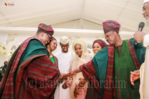 From left: The Groom's parents, Dr. Kolawole Dabiri; Mrs. Abike Dabiri-Erewa; Groom, Oladipo Habeeb; Bride, Ayomide Giasat; Bride's parents, Mrs. Olufunso and Governor Ibikunle Amosun; during the Traditional/Nikkah Engagement Ceremonyof their children held at the African Church Primary School, in Owu Abeokuta, Ogun State...yesterday PHOTO BY AKINWUNMI IBRAHIM