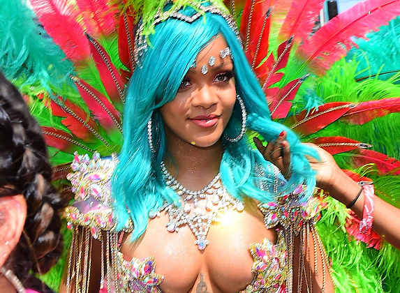 Rihanna Wears Barely There Outfit for Crop Over Festival