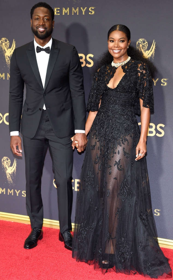 Gabrielle Union and husband, Dwayne Wade at the Emmy Awards 2017