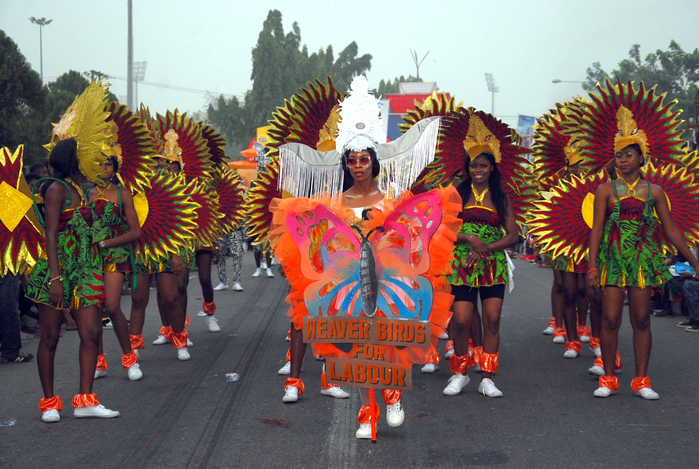 Members of Masta Blasta Band with Weaver Bird Costume to depict Hard Work during the Main Event of the 2017 Carnival Calabar in Cross River State Yesterday. Photo: Nwankpa Chijioke