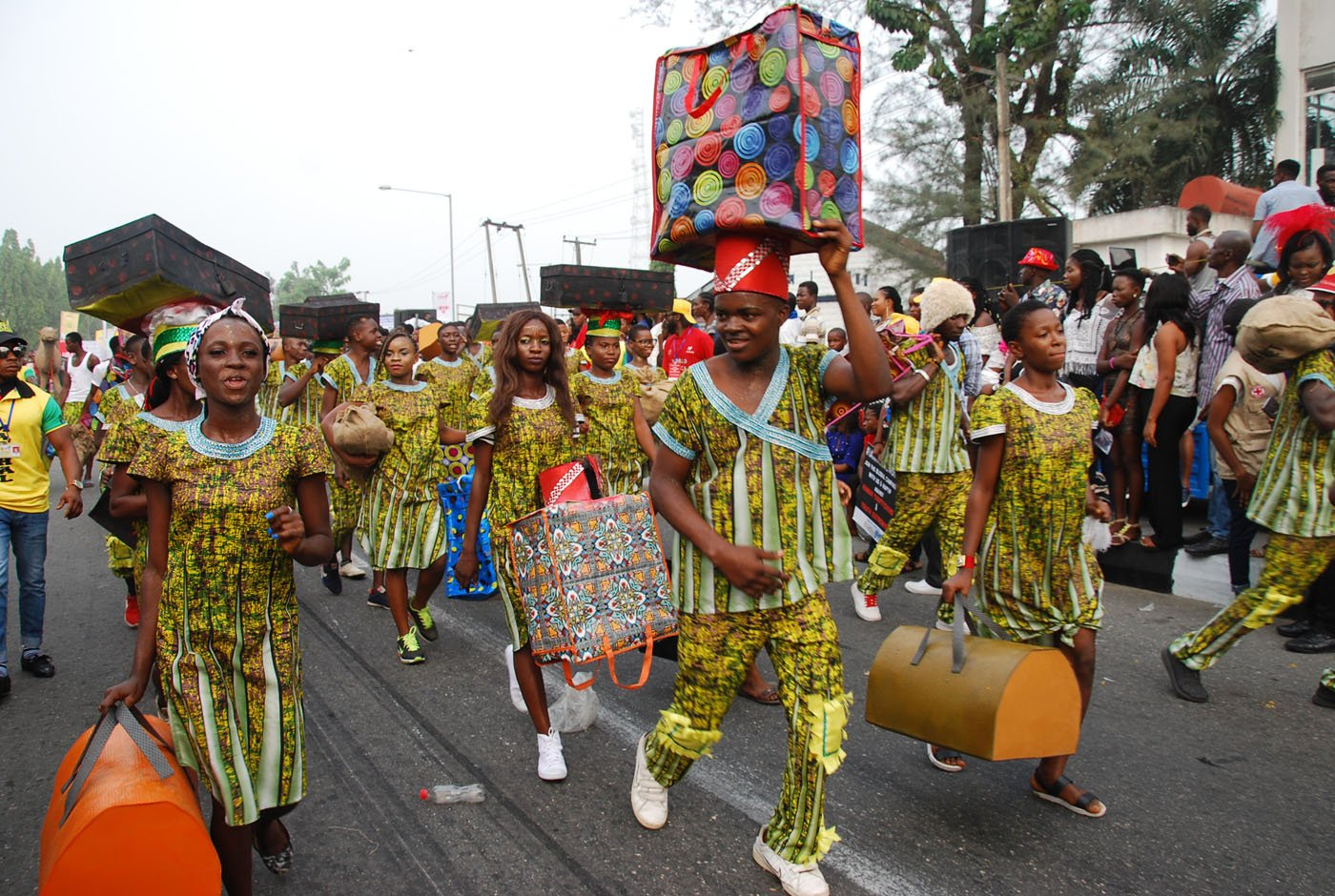 Members of Freedom Band wearing costume Depicting Migration during the Main Event of the 2017 Carnival Calabar in Cross River State Yesterday. Photo: Nwankpa Chijioke