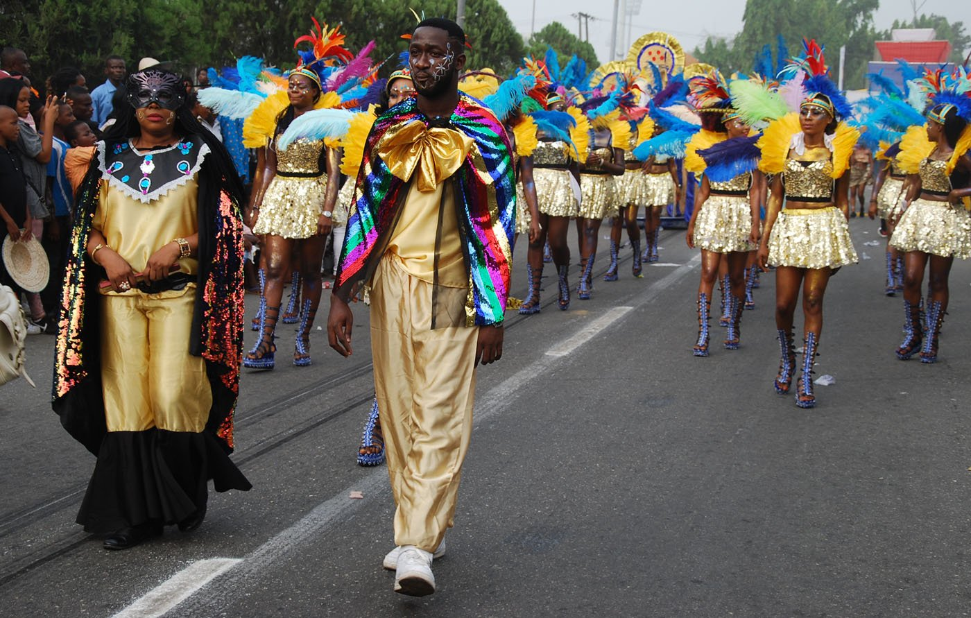 King and Queen of Bayside Band Leading other Members of the Band during the Main Event of the 2017 Carnival Calabar in Cross River State Yesterday. Photo: Nwankpa Chijioke