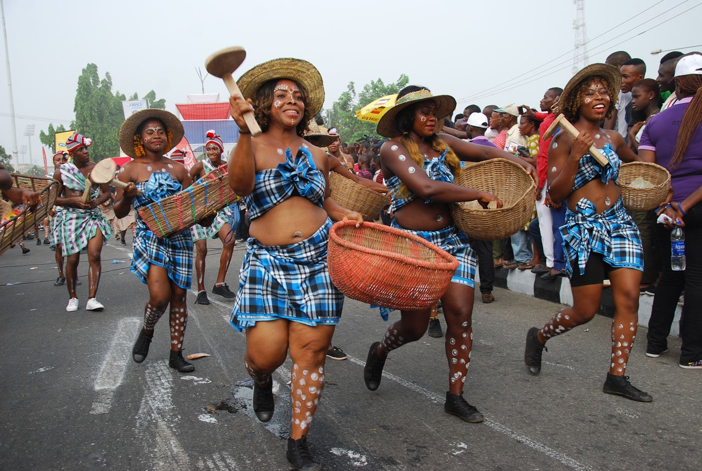 Members of Non-Competing Imo State Band during the Main Event of the 2017 Carnival Calabar in Cross River State Yesterday. Photo: Nwankpa Chijioke
