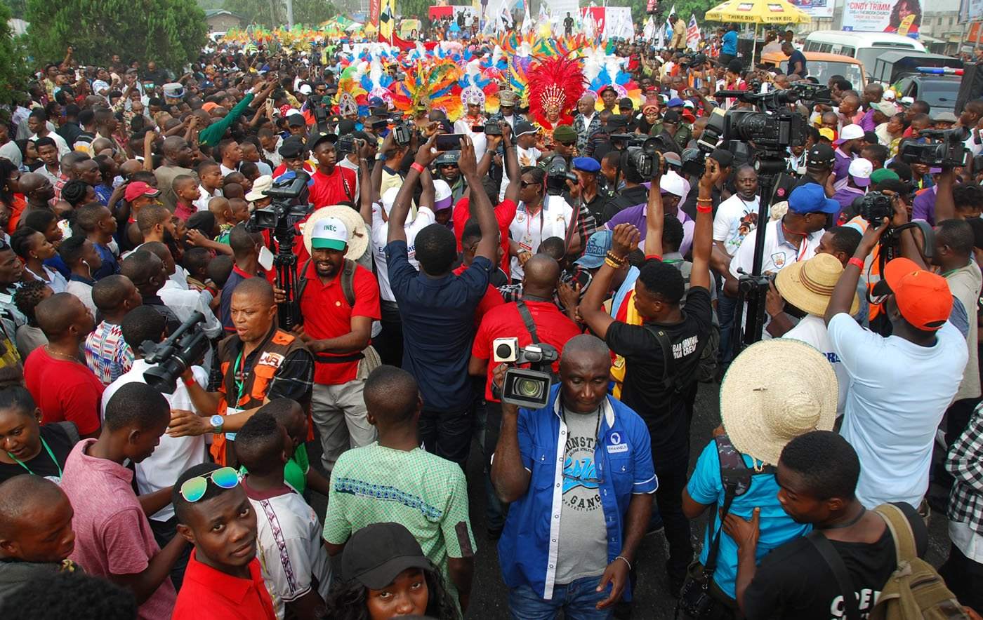 A Mamoth Crowd of Participants and Spectors during the Main Event of the 2017 Carnival Calabar in Cross River State Yesterday. Photo: Nwankpa Chijioke