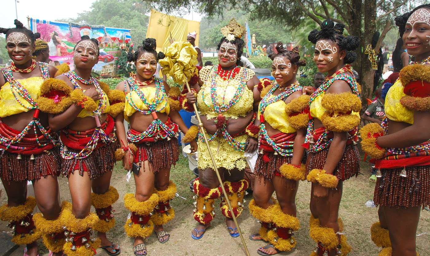 Members of Freedom Band during the Main Event of the 2017 Carnival Calabar in Cross River State Yesterday. Photo: Nwankpa Chijioke