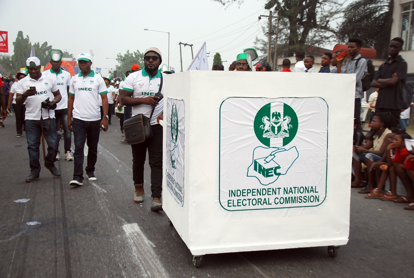 Members of Non-Competing Independent National Electoral Commission INEC Band during the Main Event of the 2017 Carnival Calabar in Cross River State Yesterday. Photo: Nwankpa Chijioke