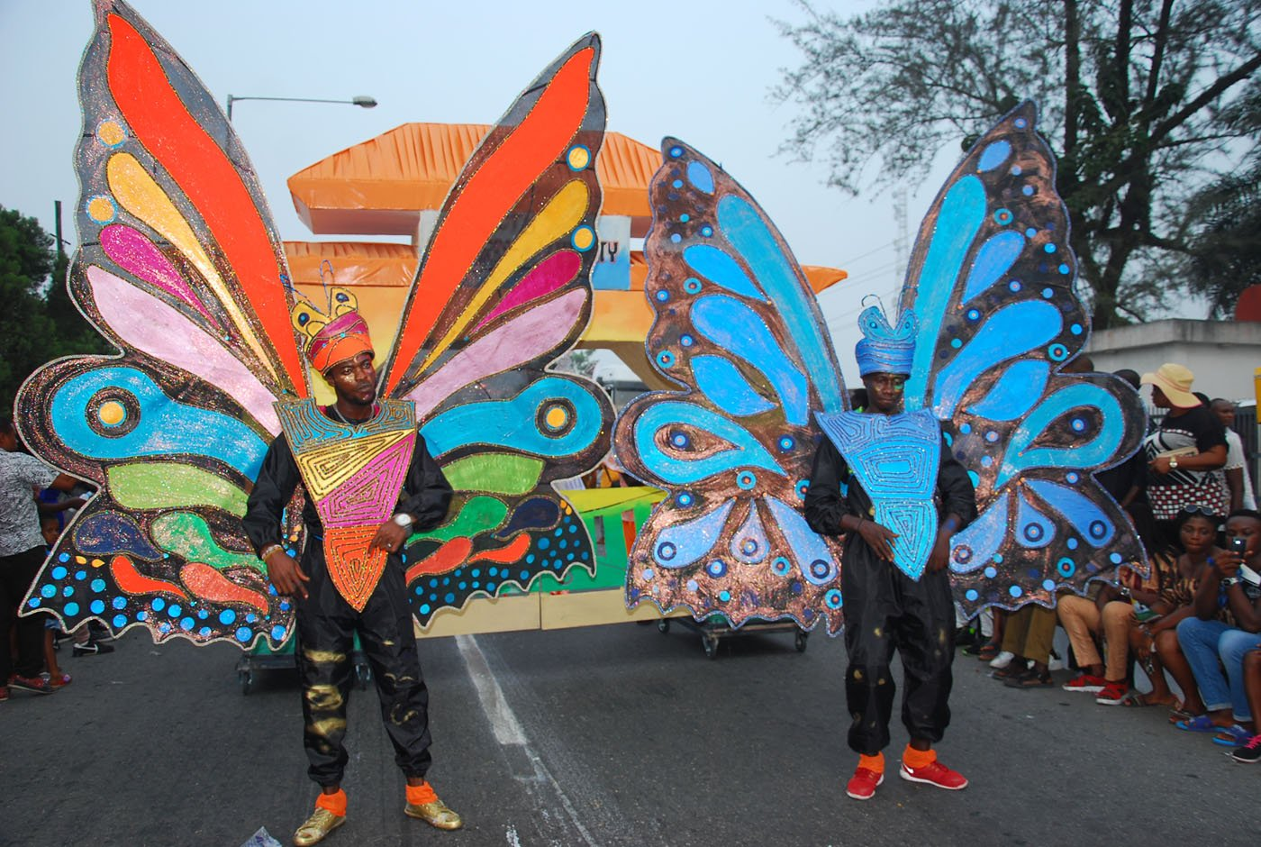 Members of Masta Blasta Band with butterfly Costume during the Main Event of the 2017 Carnival Calabar in Cross River State Yesterday. Photo: Nwankpa Chijioke