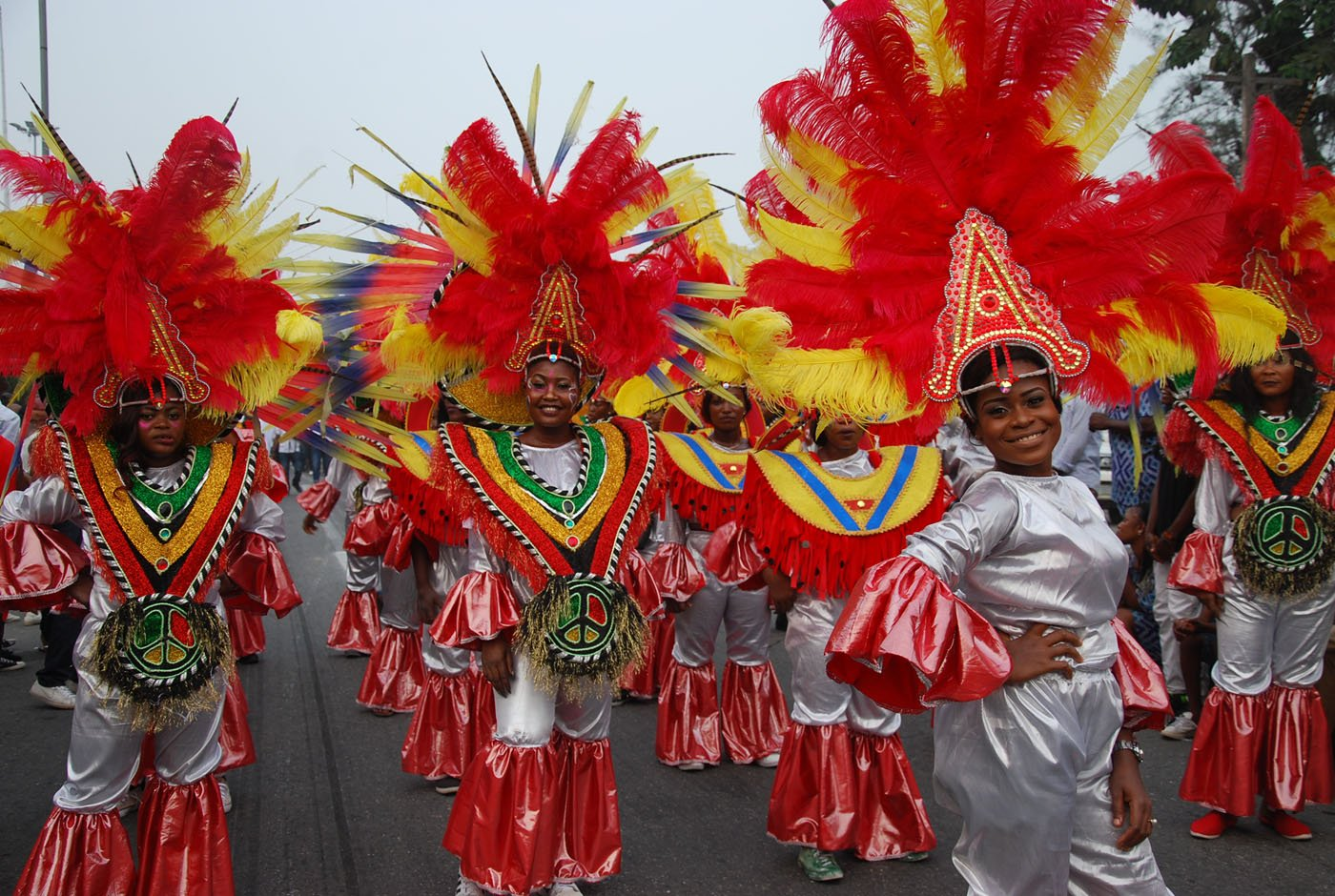 Members of Seagull Band during the Main Event of the 2017 Carnival Calabar in Cross River State Yesterday. Photo: Nwankpa Chijioke